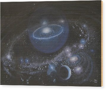Wood Print featuring the painting Solar System by Min Zou