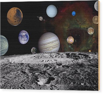 Solar System Montage Of Voyager Images Wood Print by Movie Poster Prints