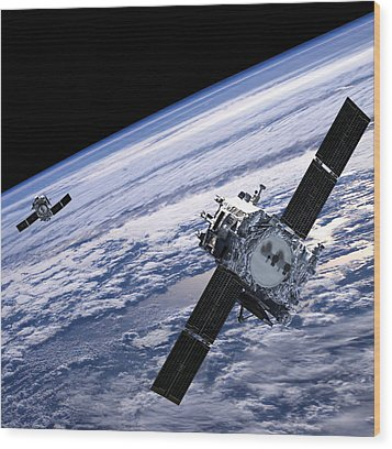 Solar Terrestrial Relations Observatory Satellites Wood Print by Anonymous