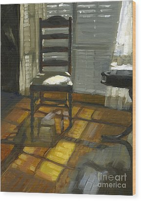 Wood Print featuring the painting Sold Darkness Or Light? by Nancy  Parsons