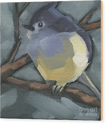Wood Print featuring the painting Sold Titmouse Camo by Nancy  Parsons