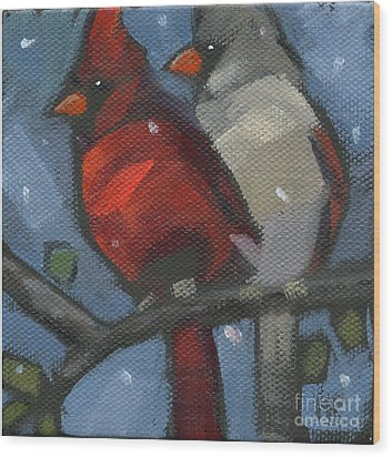Wood Print featuring the painting Sold We Are Family by Nancy  Parsons