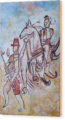 Wood Print featuring the painting Solder And Horse by Anand Swaroop Manchiraju