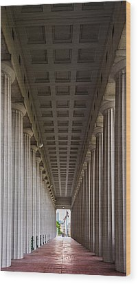 Soldier Field Colonnade Wood Print by Steve Gadomski