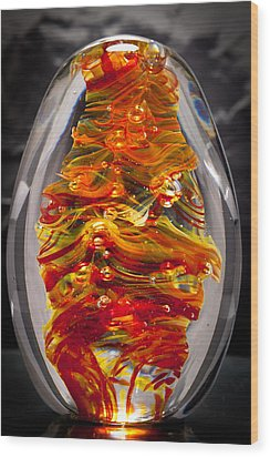 Flames -  Solid Glass Sculpture 13e5 Wood Print by David Patterson