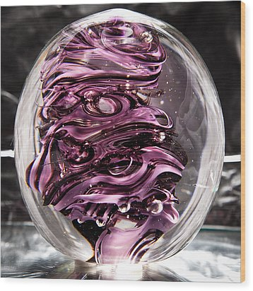 Solid Glass Sculpture Rp5 - Purple And White Wood Print by David Patterson