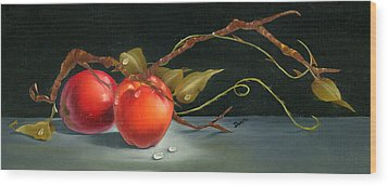 Solitary Apples Wood Print