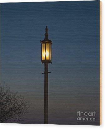 Solitary Gas Light Wood Print by Tim Mulina