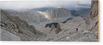 Wood Print featuring the photograph Solitary Hiker Panorama by Alan Socolik