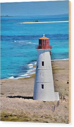 Solitary Lighthouse Wood Print by Pamela Blizzard
