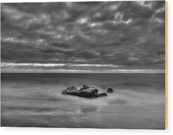 Solitary Rock - Black And White Wood Print by Peter Tellone