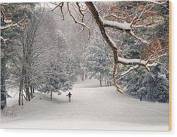 Solitary Skier At Otis Ridge Wood Print