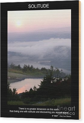 Wood Print featuring the photograph Solitude by Mary Lou Chmura