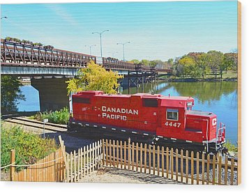 Solo Red Canadian Pacific Engine Along Rock River In Rockford Wood Print by Jeff at JSJ Photography