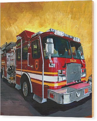 Solon Fire Engine Wood Print