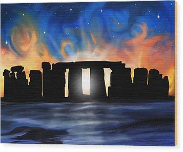 Solstice At Stonehenge  Wood Print by David Kyte
