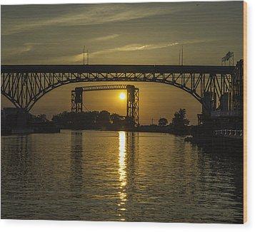 Solstice Sun Through Two Bridges Wood Print