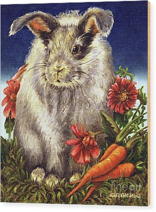 Some Bunny Is A Fuzzy Wuzzy Wood Print by Linda Simon