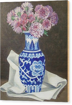 Wood Print featuring the painting Some Mums by Laura Aceto