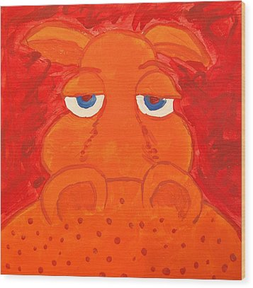 Some What Annoyed Orange Hippo Wood Print by Yshua The Painter