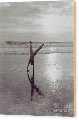 Wood Print featuring the photograph Somersalting On Bali Black Sand Beach 2 by Mukta Gupta