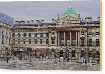 Somerset House Wood Print by MaryJane Armstrong