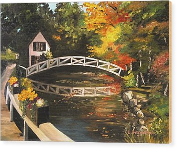 Somesville Maine Footbridge Wood Print