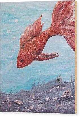 Something Is Fishy Wood Print by Rhonda Lee