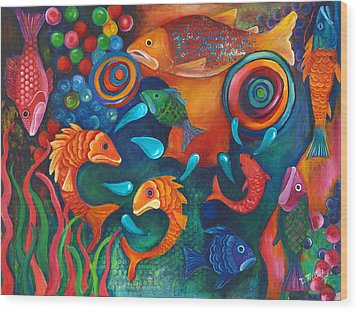 Something's Fishy Wood Print by Debbie McCulley
