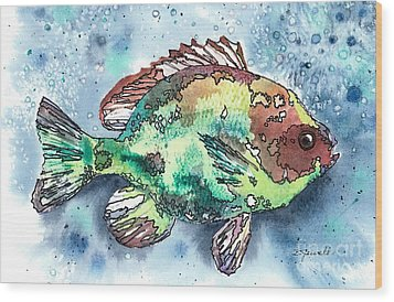 Something's Fishy Two Wood Print by Barbara Jewell