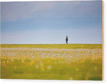 Sometimes We All Walk Alone Wood Print by Karol Livote