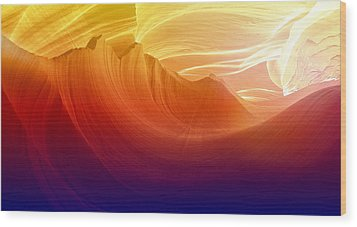 Wood Print featuring the photograph Somewhere In America Series - Colorful Light In Antelope Canyon by Lilia D