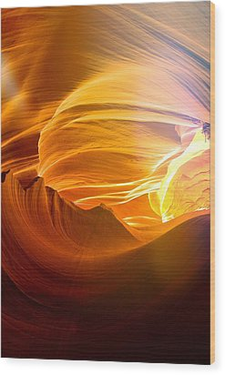 Wood Print featuring the photograph Somewhere In America Series - Gold Colors In Antelope Canyon by Lilia D
