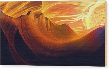 Wood Print featuring the photograph Somewhere In America Series - Golden Yellow Light In Antelope Canyon by Lilia D