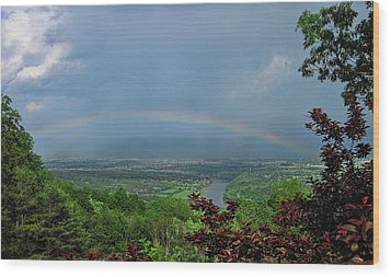 Somewhere Over The Blue Ridge Wood Print by Lara Ellis