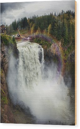 Somewhere Over The Falls Wood Print