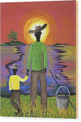 Son Raise Wood Print by Patricia Sabree