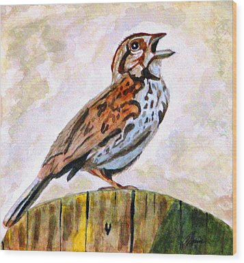 Wood Print featuring the painting Song Sparrow by Angela Davies