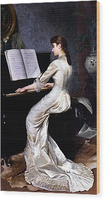 Song Without Words, Piano Player, 1880 Wood Print by George Hamilton Barrable