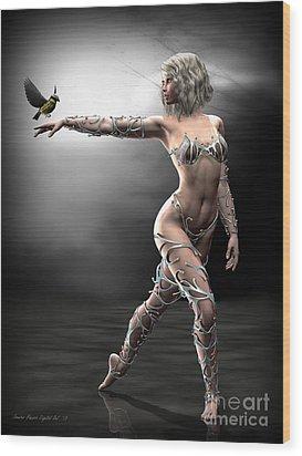 Wood Print featuring the digital art Songbird by Sandra Bauser Digital Art