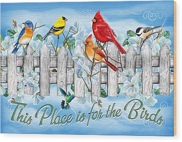 Songbirds Fence Wood Print by JQ Licensing