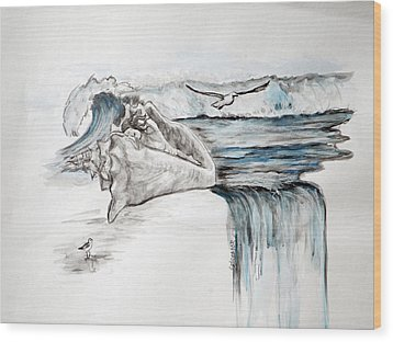 Sonido Del Mar Wood Print by Gladiola Sotomayor