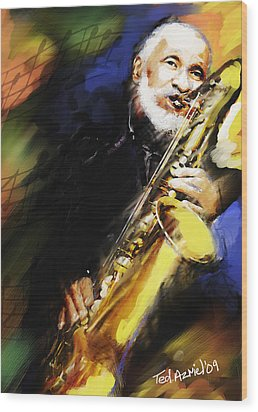 Sonny Rollins Groovin' The Sax Wood Print by Ted Azriel