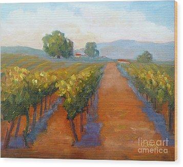 Sonoma Vineyard Wood Print by Carolyn Jarvis