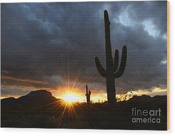 Sonoran Desert Rays Of Hope Wood Print by Bob Christopher