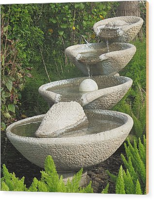 Wood Print featuring the photograph Soothing Sounds Water Fountains by Ella Kaye Dickey