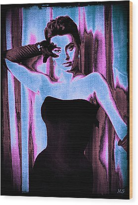 Sophia Loren - Blue Pop Art Wood Print by Absinthe Art By Michelle LeAnn Scott