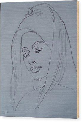 Sophia Loren In Headdress Wood Print
