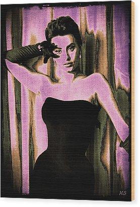 Sophia Loren - Purple Pop Art Wood Print by Absinthe Art By Michelle LeAnn Scott