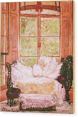 Wood Print featuring the painting Sophia's Sofa by Helena Bebirian